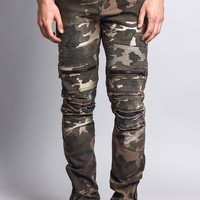 Zipper Cut Biker Camo Jeans