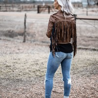 Brown Faux Leather Fringe Jacket