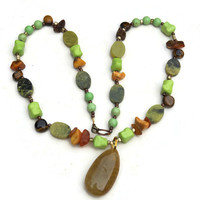 Long colorful pendant necklace Bohemian multi stone multicolored Semiprecious stones Green turquoise Baltic amber Yellow rutilated quartz