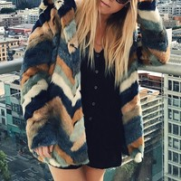 Chevron-Pattern Faux Fur Coat