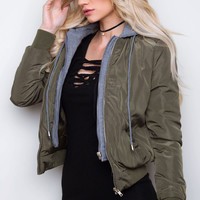 Take A Leap Bomber Jacket - Olive