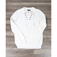 Lace Up V-Neck Sweater in Cream
