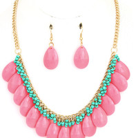 Hot Pink Teardrop Beaded Chain Necklace