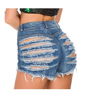 New summer denim nightwear sexy high-waisted ripped shorts for women