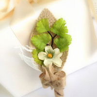 Spring Garden Grooms Boutonniere, Burlap, Green Fern, Lemon Yellow Flower,  Country,  Country Wedding,  Spring, Summer, Rustic