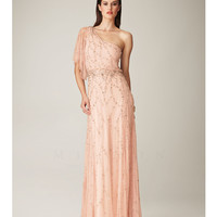 Mignon Spring 2014 Dresses - Pink Asymmetrical One Shoulder Evening Gown