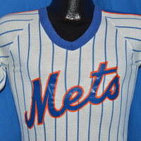80s New York Mets Sand Knit White Blue Pinstripe Jersey t-shirt Small