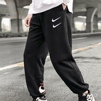 NIKE New fashion embroidery hook couple pants Black