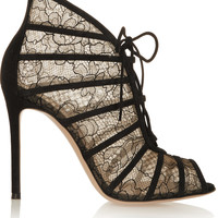 Gianvito Rossi - Suede-trimmed Chantilly lace boots