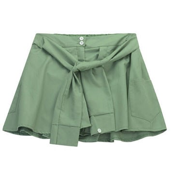 Tie Waist Shorts with Button Detail