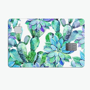 Watercolor Cactus Succulent Bloom V13 - Premium Protective Decal Skin-Kit for the Apple Credit Card