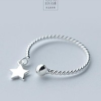 Real. 925 Sterling Silver jewelry fine Adjustable Rope Twist Star&Ball Ring toe knuckle Openable jewelry GTLJ748