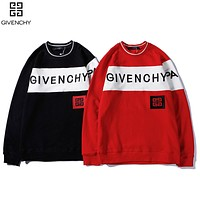 GIVENCHY Hot Sale Men Women Casual Embroidery Print Round Collar Sweater Sweatshirt