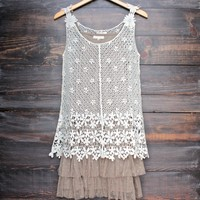 RYU the whimsical side crochet dress with detachable lace slip extender - cream/mocha