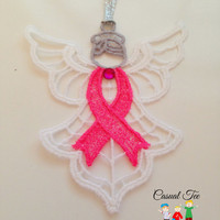 Embroidered Lace Breast Cancer Angel - Special Price for October Breast Cancer Awareness Month
