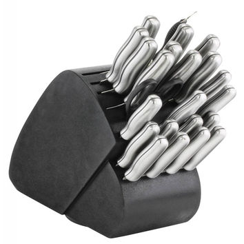 34-Piece Steel Handle Knife Set