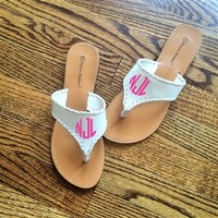 Cabana Breeze Sandals - White with Monogram