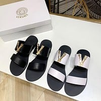 Versace Popular Summer Women's Flats Men Slipper Sandals Shoes 0325