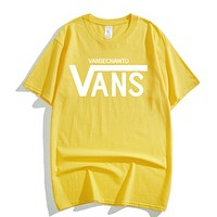 Vans Summer New Fashion Letter Print Women Men Leisure Top T-Shirt Yellow