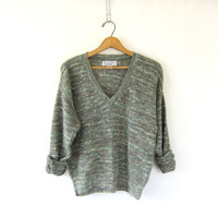 simple green vneck Sweater. 80's speckled prep sweater. soft cozy fall sweater. size M