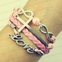Love is infinite and cross bracelet, infinite charm of pearl gift - the best friendship