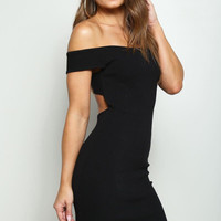 Open Back Off the Shoulder Mini Dress Black
