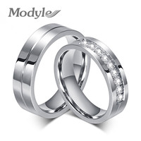 Modyle 2016 New CZ Wedding Rings for Women Men Gold Plated Couple Engagement Ring Jewelry