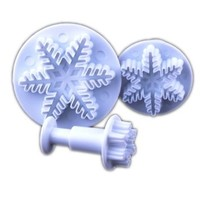 Ostart 3 x Snowflake Cookies Biscuit Cake Decorating Plunger Cutter Sugarcraft Mold Tool