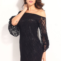 Black Off-The-Shoulder Lace Mini Dress with Bell Sleeves