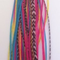 """Feather Hair Extension 5""""-7"""" Yellow, Pink,aquamarine & Grizley Feathers Hair Extension Made up of 5 Quality Salon Feathers"""
