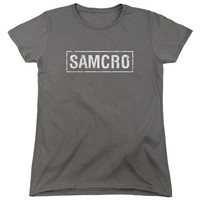 SONS OF ANARCHY/SAMCRO-S/S WOMEN'S TEE-CHARCOAL-XL