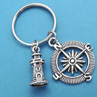 Lighthouse, Compass, Keycahin, Keyring, Couple, Keychain, Lovers, Keyring, Key chain, Lover, Friendship, Best friend, Gift, Jewelry