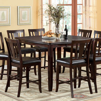 A.M.B. Furniture & Design :: Dining room furniture :: Counter Height dining sets :: 9 Pc. Edgewood II Transitional Style Counter Height espresso finish wood counter height dining table set with expandable leaf