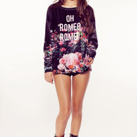 OH ROMEO ROSE GARDEN SWEATER at Wildfox Couture in  BLACK