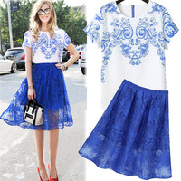 White and Blue Retro Print T-Shirt and Floral Lace Midi Skirt