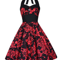 Lady Mayra Ashley Red Roses Dress Vintage Rockabilly Pin Up 1950s Psychobilly Gothic Lolita Steampunk Swing Prom Party Plus Size Clothing