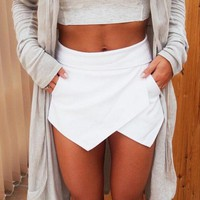 2018  Time-limited Special Offer Dropped Saias Jupe Skirts Ladies Womens Skorts Shorts Bright Mini Asymmetrical 6 Colors