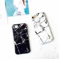 Hottest Black and White Marble Original Design Phone Case For iPhone 7 7Plus 6 6s Plus Hard Glossy Shell for Couple Gift