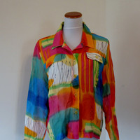 Colorful Sheer Blouse, Groovy Psychedelic ,Womens Size Medium, Vintage  Beach Coverup, Made in USA  Hippie Top