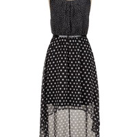 belted high-low mixed dot print dress