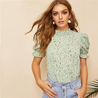 Boho Green Ditsy Floral Frill Neck Puff Sleeve Top Keyhole Back Blouse Women Elegant Office Lady Tops and Blouses
