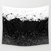 Black and White Splatter Theme Wall Tapestry by Cafelab