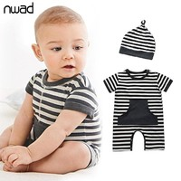 NWAD Baby Boy Romper Striped Newborn Baby Clothes Summer Infant Newborn Kids Toddler Boys Short Sleeve Romper With Hat FF099