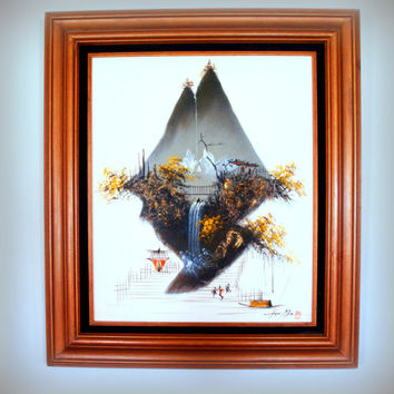 1960s CHINOISERIE DECORATIVE OIL Painting - Large Abstract Geometric Mountain and Waterfall with Fabulous Copper Wood Frame