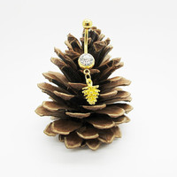 Gold leaf pine cone belly button ring , belly button jewelry