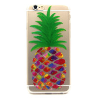 Hawaiian Pineapple Jewel Colors Clear Soft Silicone Case Cover For iPhone 6 6s 4.7""