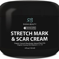 Stretch Mark and Scar Cream 4 oz - Best moisturizing cream to decrease and prevent stretch marks and scars - with Organic Ingredients with Natural Plant Oils for pregnancy