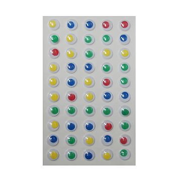 Small Googly Eyes Self Adhesive Sticker, Assorted Color, 1/2-Inch, 50-Count
