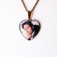 """FBI Special Agent Fox Mulder (David Duchovny) From Television Series """"The X-Files""""- Handmade Heart Cameo Pendant Necklace"""