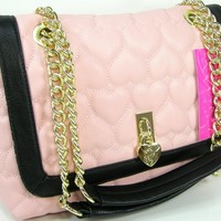 Betsey Johnson Purse Chain Shoulder Cross Body Bag Pink Puffy Hearts Be Mine